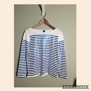 J. Crew blue and white shiny stripes size XS NWT